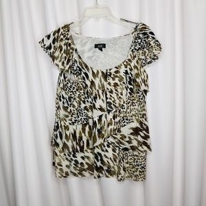 AGB cap sleeve animal print tiered layer blouse XL